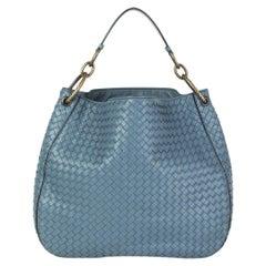 BOTTEGA VENETA Krim blue leather INTRECCIATO LOOP MEDIUM Shoulder Bag