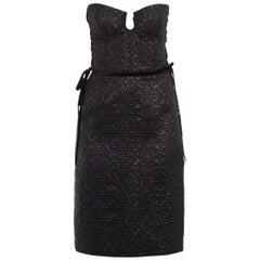 Bottega Veneta Lace-Up Velvet-Trimmed Silk Midi Dress