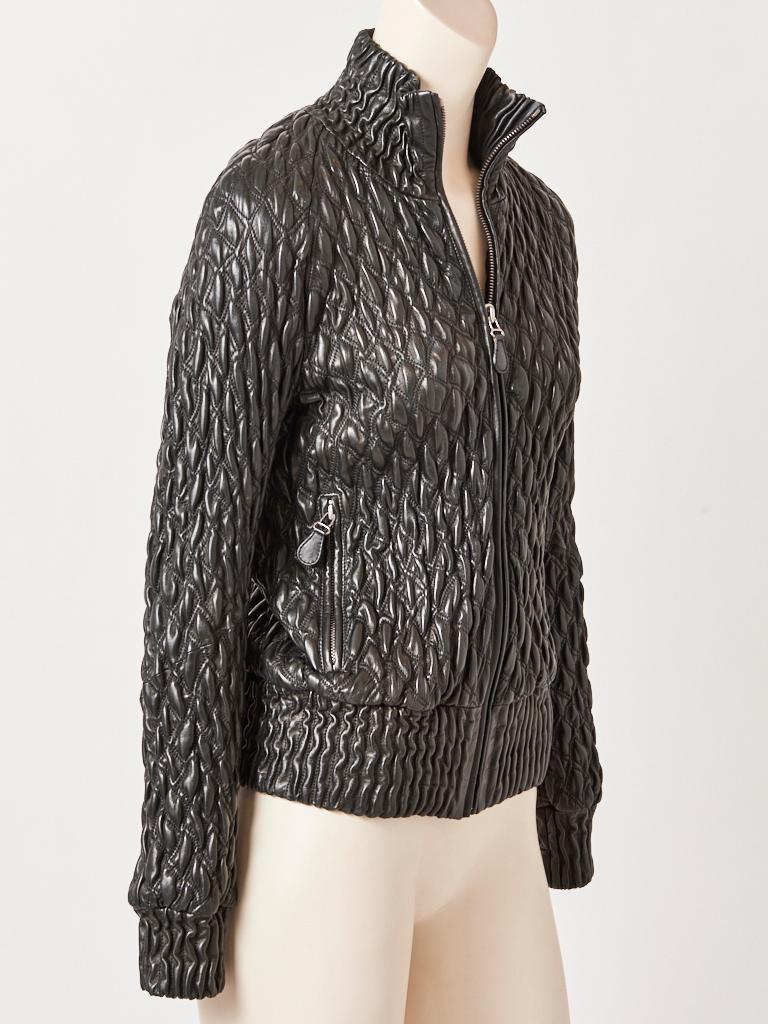 Black Bottega Veneta Leather Quilted Bomber Jacket  For Sale