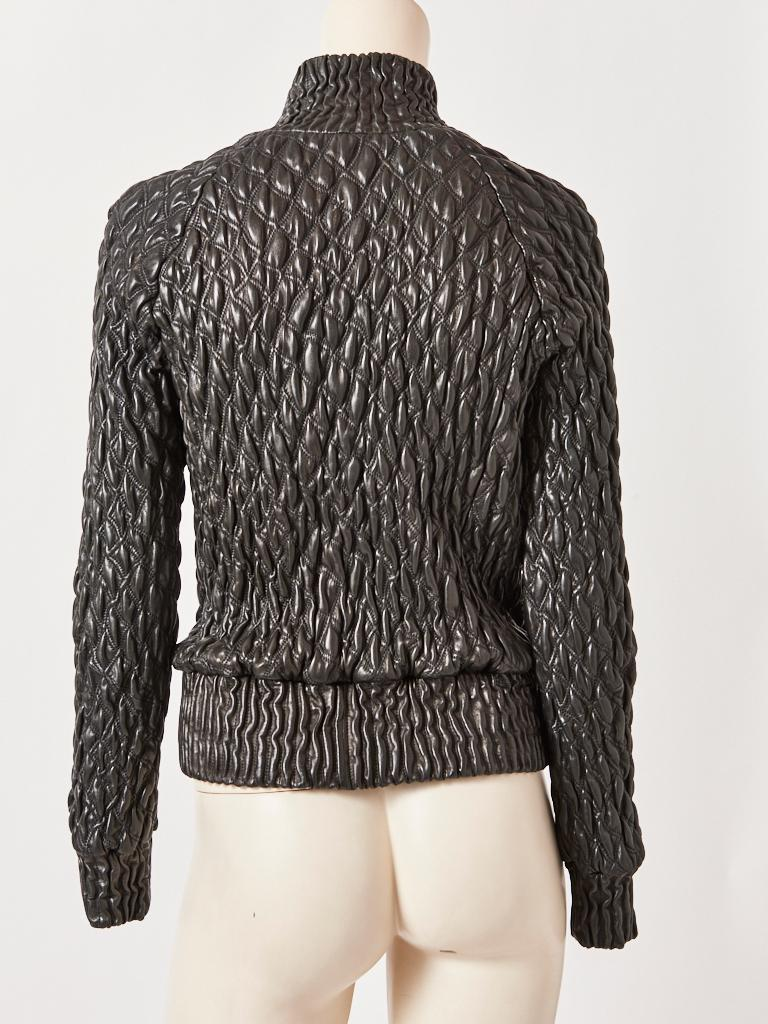 Bottega Veneta Leather Quilted Bomber Jacket  In Good Condition For Sale In New York, NY