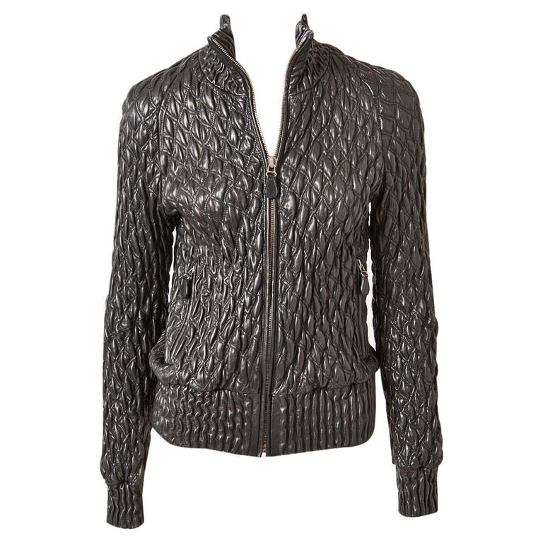 Bottega Veneta Leather Quilted Bomber Jacket  For Sale