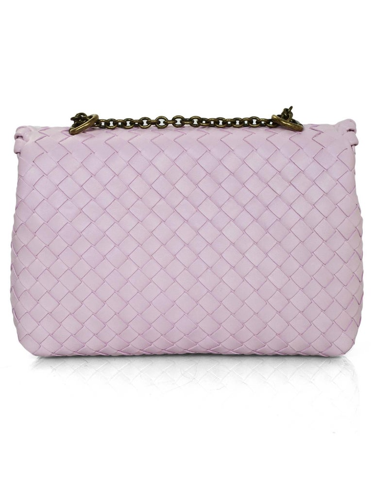 Women's Bottega Veneta Light Pink Dragee Intrecciato Woven Leather Baby Olimpia Bag  For Sale