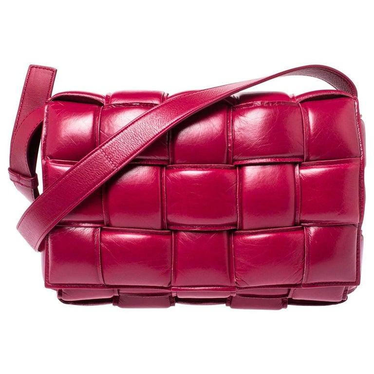 Bottega Veneta Magenta Padded Leather Cassette Crossbody Bag For Sale