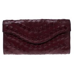 Bottega Veneta Maroon Intrecciato Leather Continental Wallet