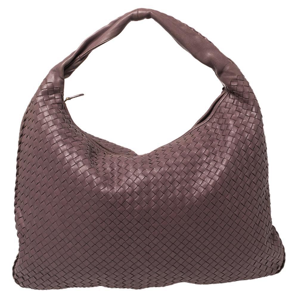 Bottega Veneta Mauve Intrecciato Leather Maxi Veneta Hobo