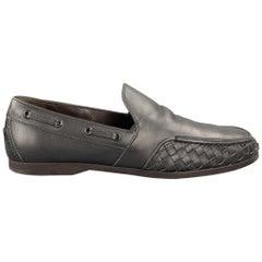 BOTTEGA VENETA Men's Size 11 Charcoal Woven Leather Slip On Loafers