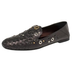Bottega Veneta Metallic Black Intrecciato Leather Studded Loafers Size 39