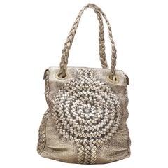 BOTTEGA VENETA metallic gold intrecciato woven braided shoulder strap hobo bag