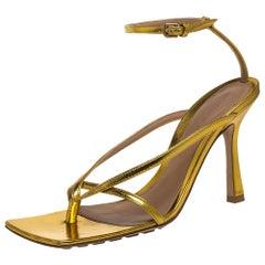 Bottega Veneta Metallic Gold Leather Ankle Strap Sandals Size 36.5