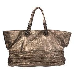 BOTTEGA VENETA metallic gold leather CORDED WAVE Tote Bag