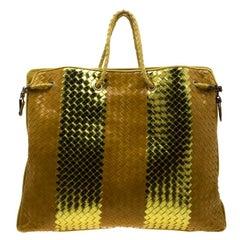 Bottega Veneta Metallic Gold/Yellow Stripe Intrecciato Leather Oversized Tote