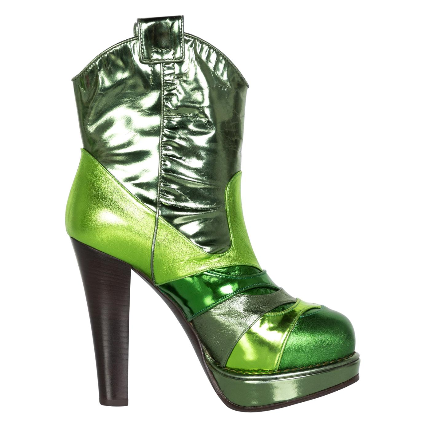 Bottega Veneta Metallic Green Leather Ankle Boots, 2010