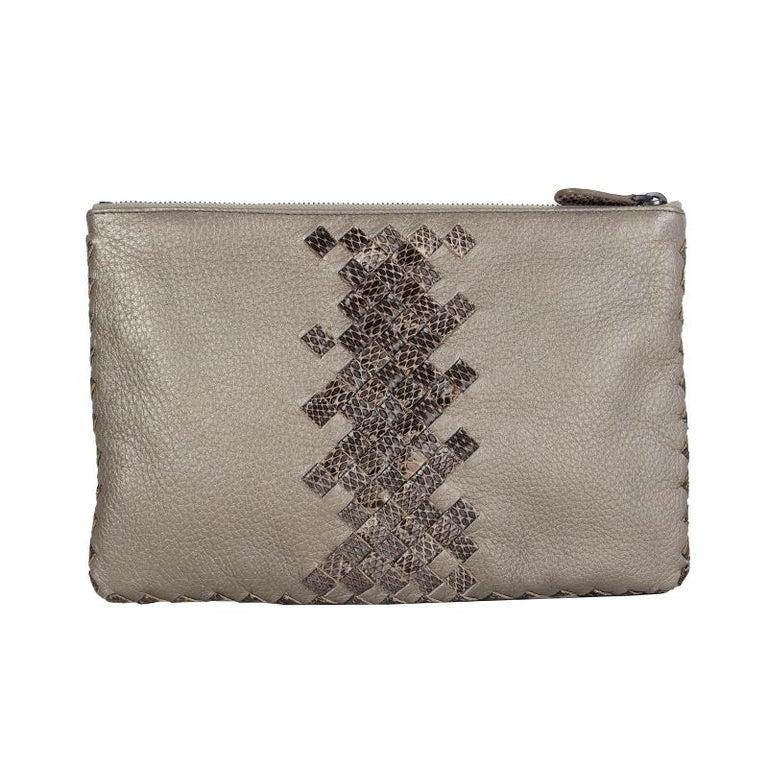 Gray BOTTEGA VENETA metallic grey INTRECCIATO Zip Pouch Clutch Bag For Sale