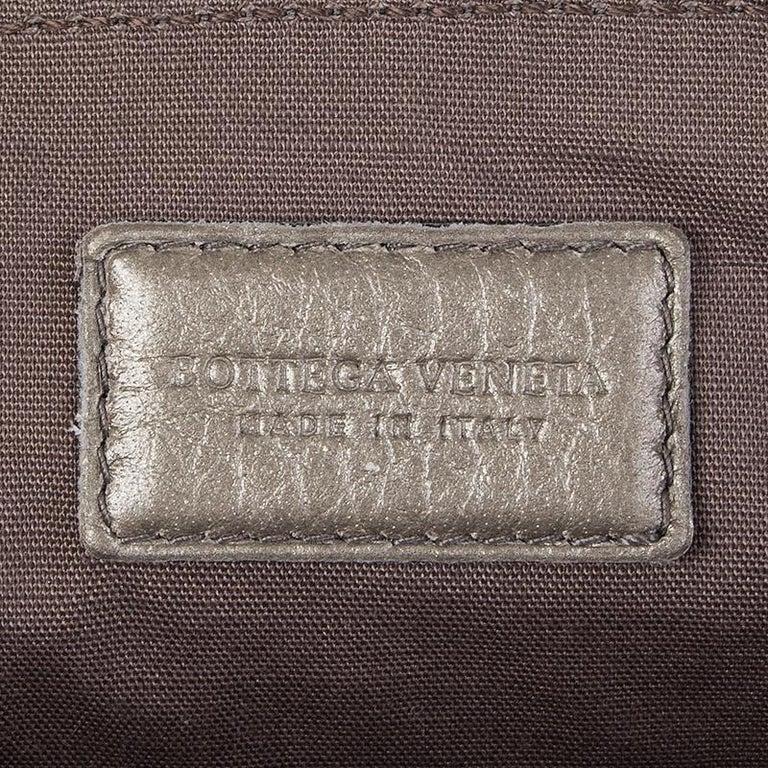 BOTTEGA VENETA metallic grey INTRECCIATO Zip Pouch Clutch Bag For Sale 1