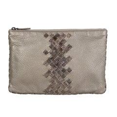 BOTTEGA VENETA metallic grey INTRECCIATO Zip Pouch Clutch Bag