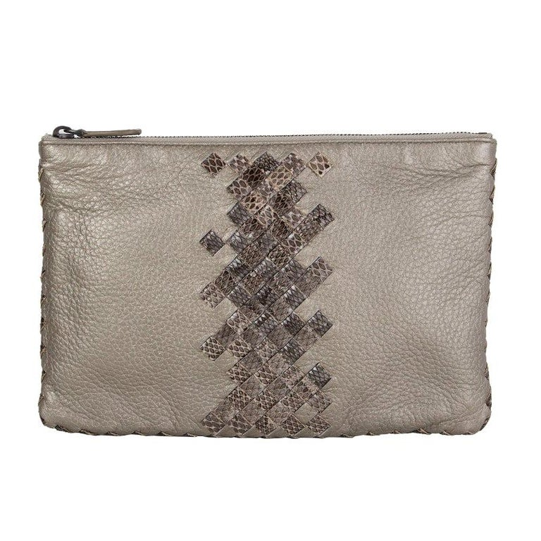 BOTTEGA VENETA metallic grey INTRECCIATO Zip Pouch Clutch Bag For Sale