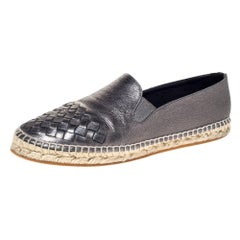 Bottega Veneta Metallic Leather Intrecciato Leather Espadrille Sneakers Size 38