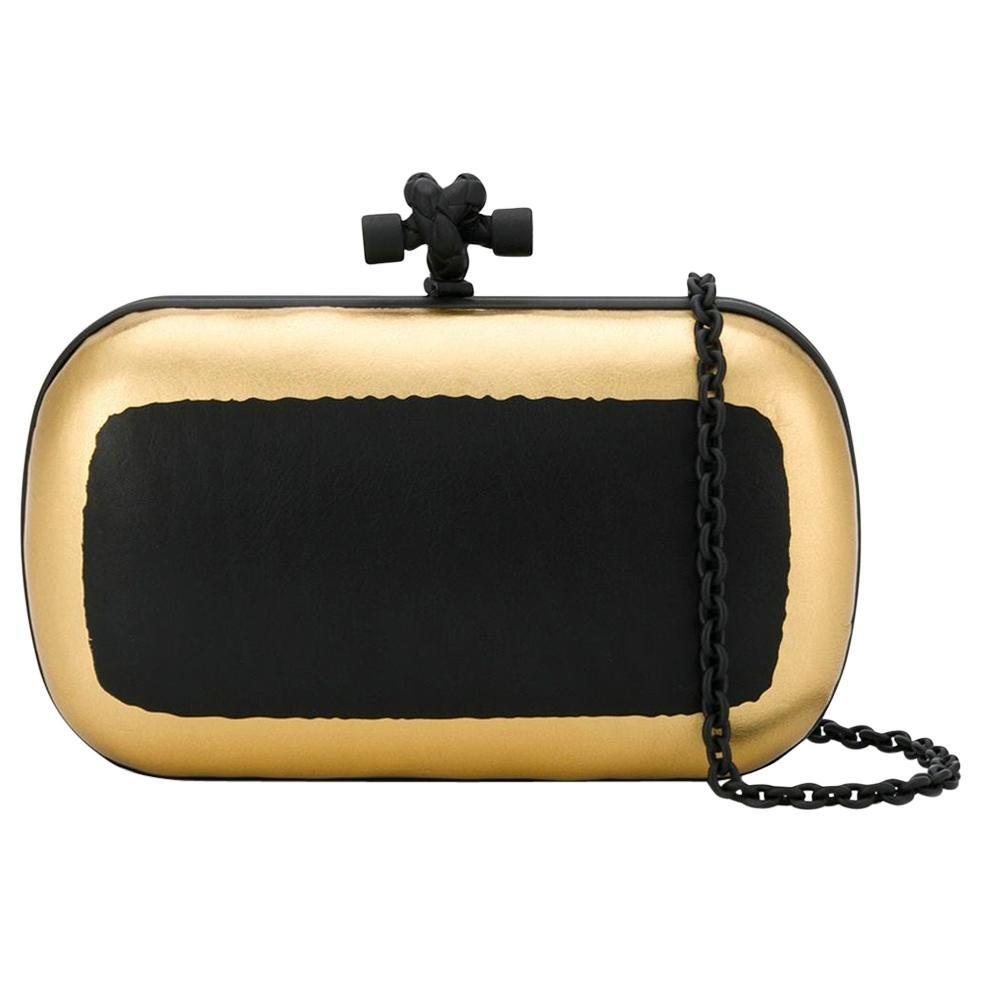 Bottega Veneta Metallic Leather Knot Clutch Bag