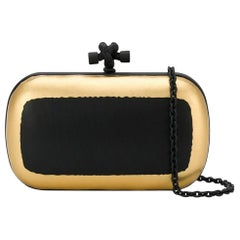 Bottega Veneta Metallic Leather Knot Clutch Bag