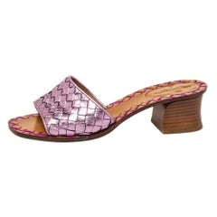 Bottega Veneta Metallic Purple Intrecciato Slide Sandals Size 36