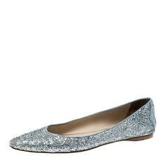 Bottega Veneta Metallic Silver Glitter Intrecciato Leather Trim Pointed Toe Ball