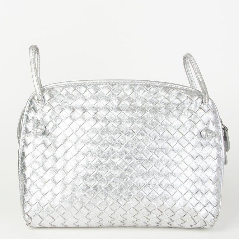 Silver BOTTEGA VENETA metallic silver leather INTRECCIATO NODINI SMALL Crossbody Bag For Sale