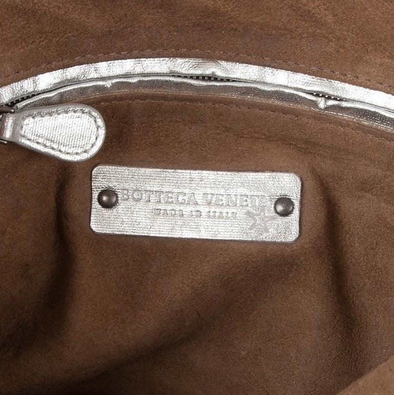 Women's BOTTEGA VENETA metallic silver leather INTRECCIATO NODINI SMALL Crossbody Bag For Sale