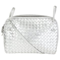 BOTTEGA VENETA metallic silver leather INTRECCIATO NODINI SMALL Crossbody Bag