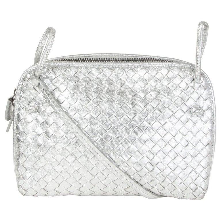 BOTTEGA VENETA metallic silver leather INTRECCIATO NODINI SMALL Crossbody Bag For Sale