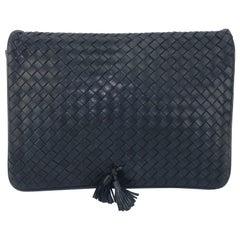 Bottega Veneta Midnight Blue Leather Intrecciato Clutch Handbag