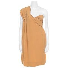 Bottega Veneta Mocha Brown Cotton Ruffled One Shoulder Bubble Dress S