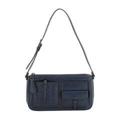 Bottega Veneta Multi Pocket Crossbody Leather and Intrecciato Nappa Small
