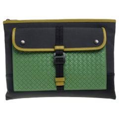 Bottega Veneta Multicolor Intrecciato Leather and Canvas Front Pocket Zip Clutch