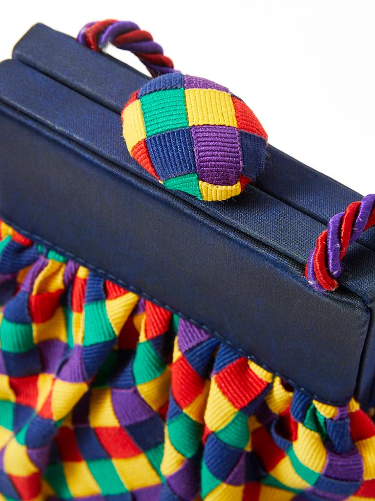 Bottega Veneta Multitone Gross Grain Ribbon Purse In Good Condition For Sale In New York, NY