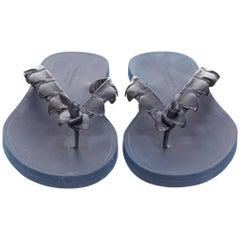 BOTTEGA VENETA navy blue alligator leather thong flip flop summer sandals EU41