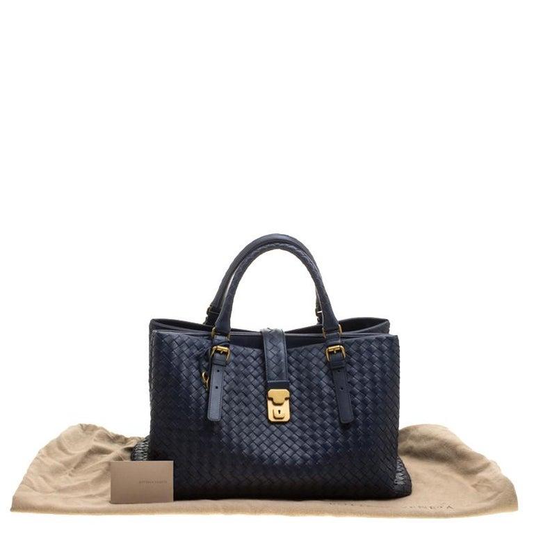 2bd6d37a90c2 Bottega Veneta Navy Blue Intrecciato Leather Roma Tote For Sale at ...