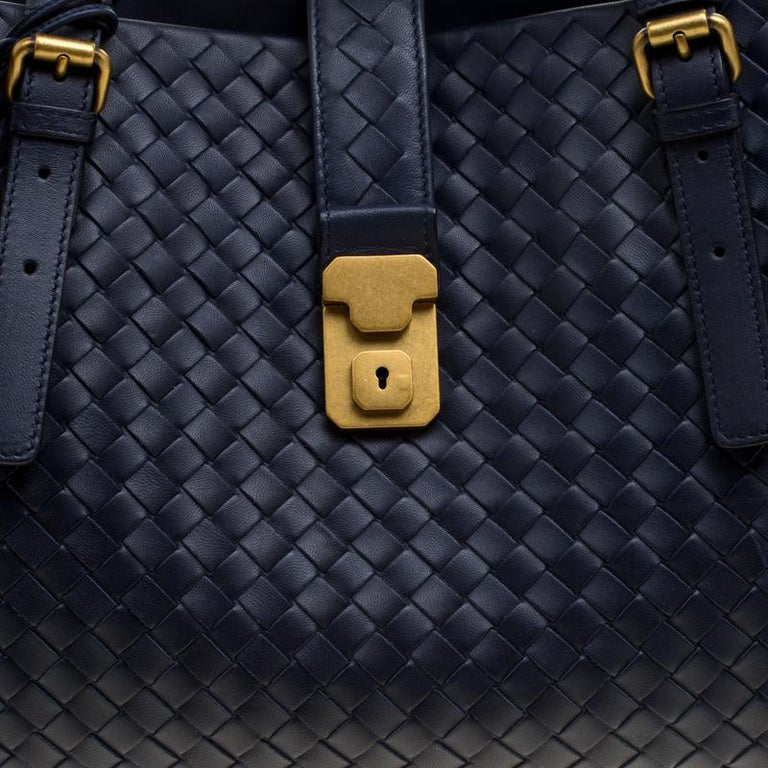 b1a9189727b2 Women s Bottega Veneta Navy Blue Intrecciato Leather Roma Tote For Sale