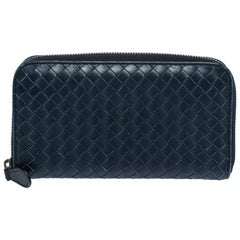 Bottega Veneta Navy Blue Leather Zip Around Wallet