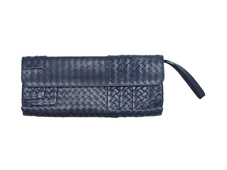 Purple Bottega Veneta Navy Intrecciato Clutch For Sale