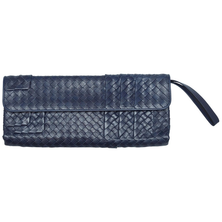 Bottega Veneta Navy Intrecciato Clutch For Sale