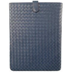 BOTTEGA VENETA Navy Woven Intrecciato Leather iPad Tablet Case