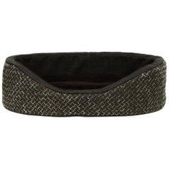 Bottega Veneta Nero Intrecciato Linen & Leather Dog Bed