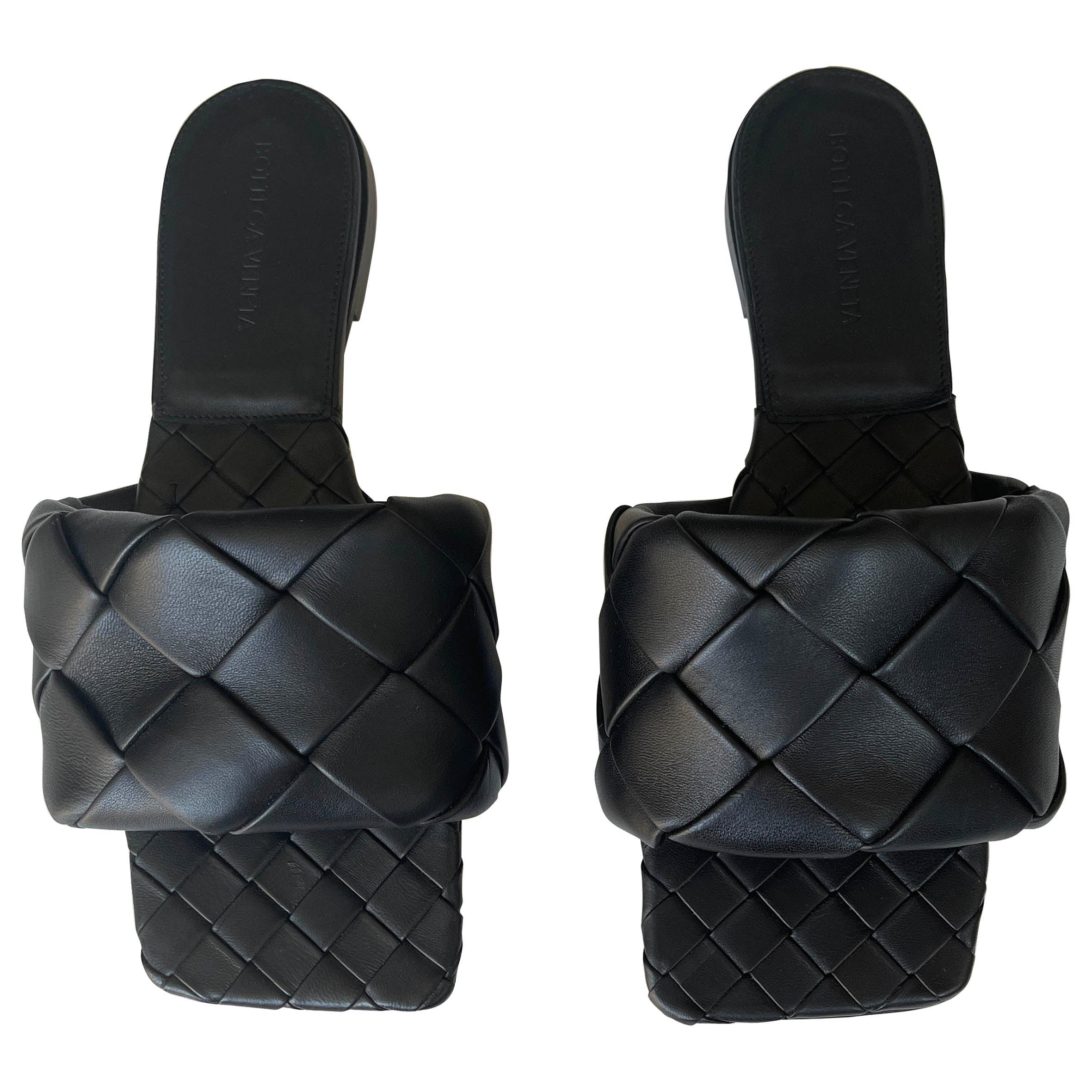 Bottega Veneta NEW Black BV Lido Intrecciato Weave Slides sz 39
