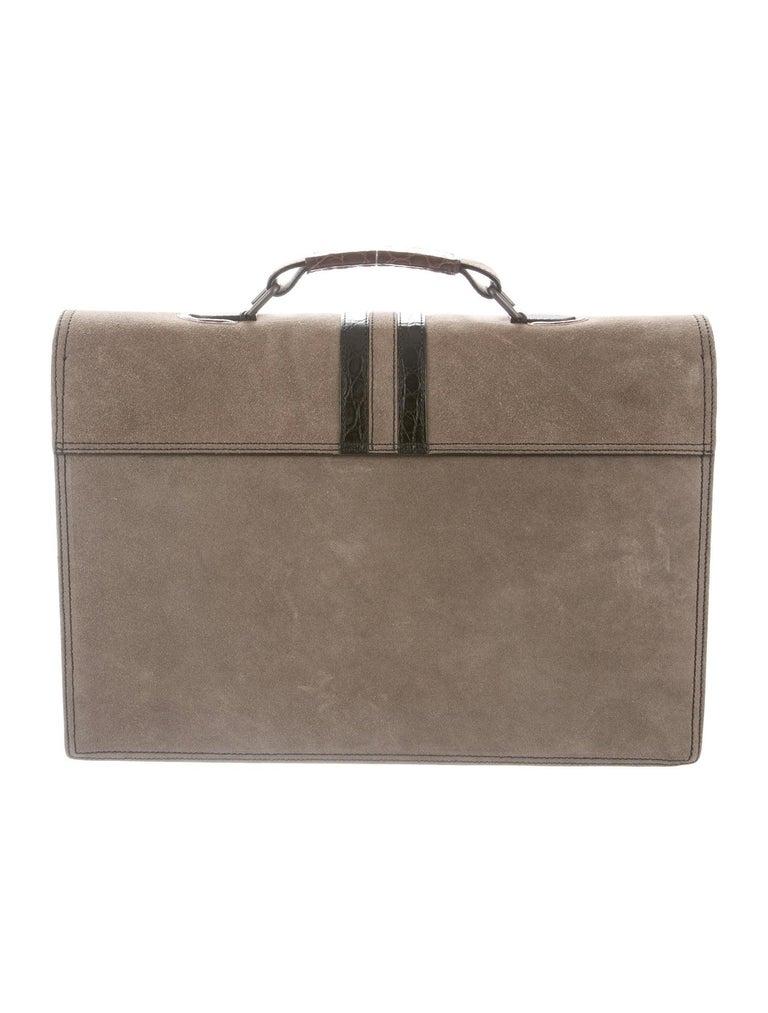 Gray Bottega Veneta NEW Tan Suede Crocodile Men's Women's Business Briefcase Bag