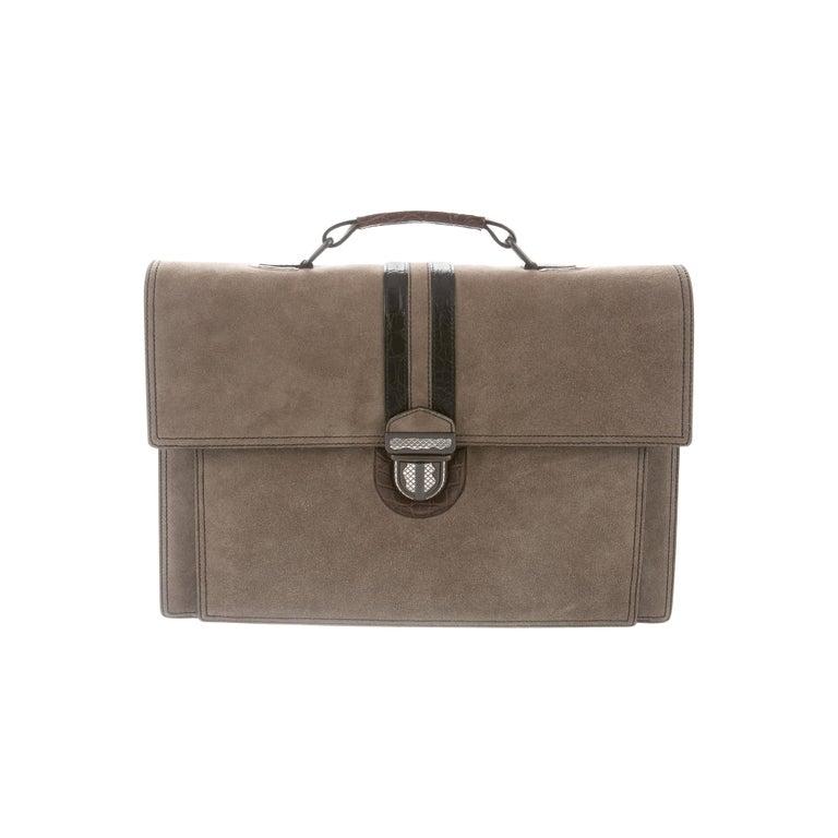 Bottega Veneta NEW Tan Suede Crocodile Men's Women's Business Briefcase Bag