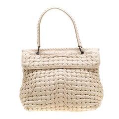 Bottega Veneta Off White Leather Top Handle Bag