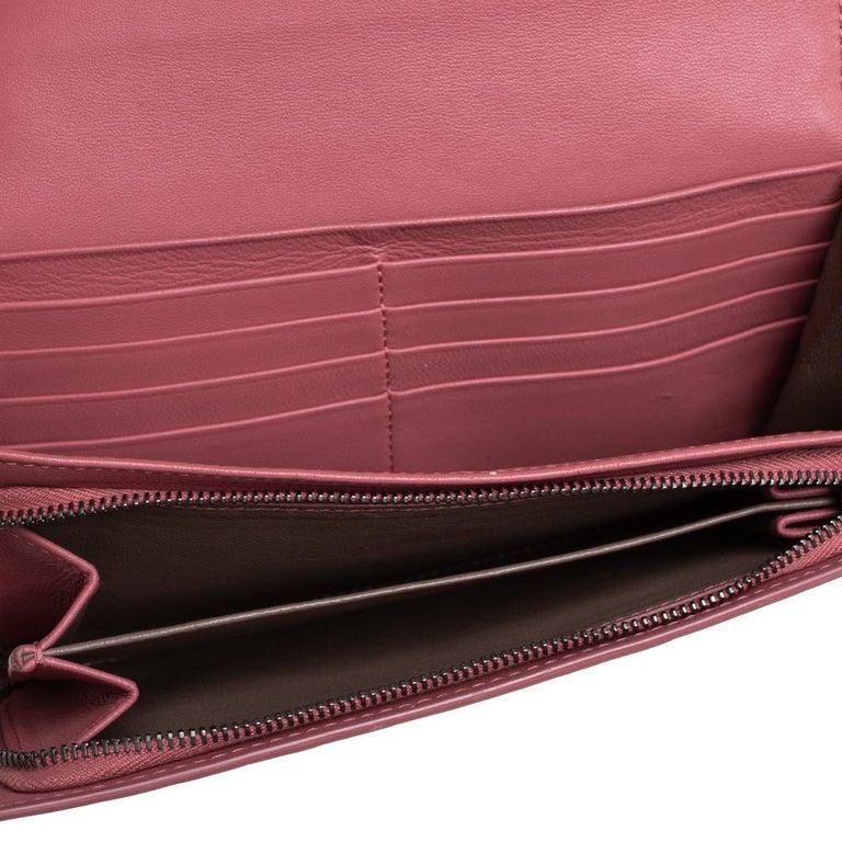 Bottega Veneta Old Rose Intrecciato Leather Continental Flap Wallet For Sale 5