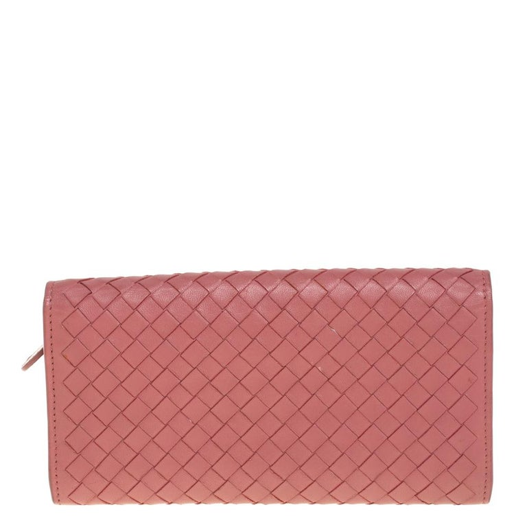 Pink Bottega Veneta Old Rose Intrecciato Leather Continental Flap Wallet For Sale