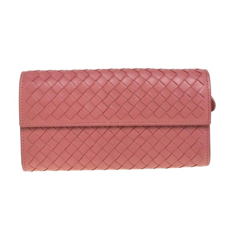 Bottega Veneta Old Rose Intrecciato Leather Continental Flap Wallet For Sale