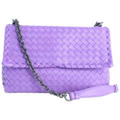 Bottega Veneta Olimpia Medium Napa Chain Flap 10mz0828 Purple Leather Cross Body